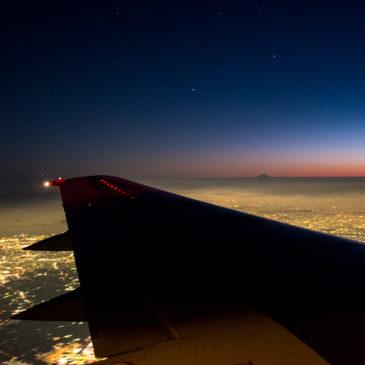 飛行機から見るマジックタイムの東京