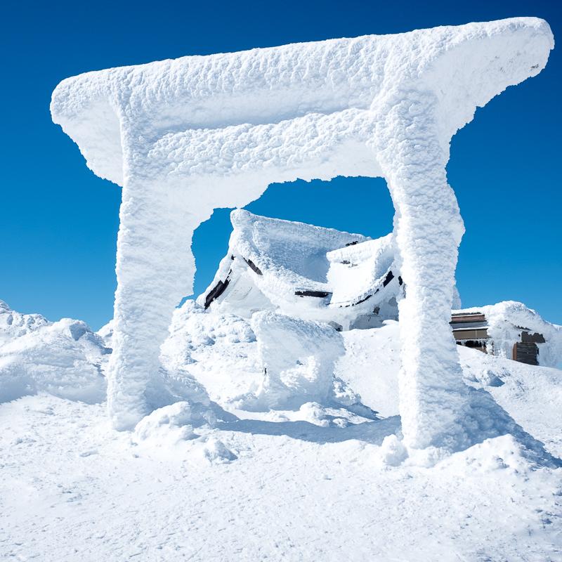 快晴の蔵王雪山登山